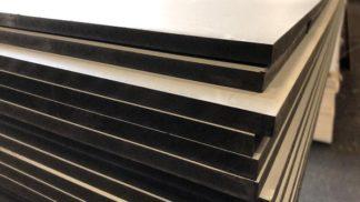 MDF door-en-door zwart met 1-zijdig witte toplaag 9x3050x1220mm
